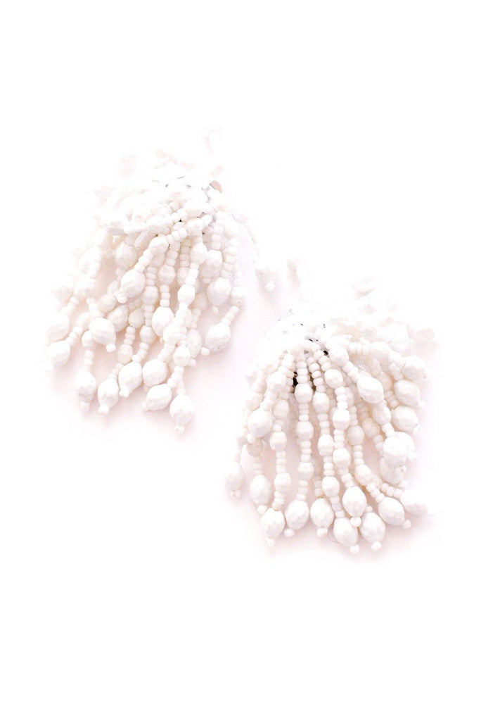 White Fringe Clip-on Earrings
