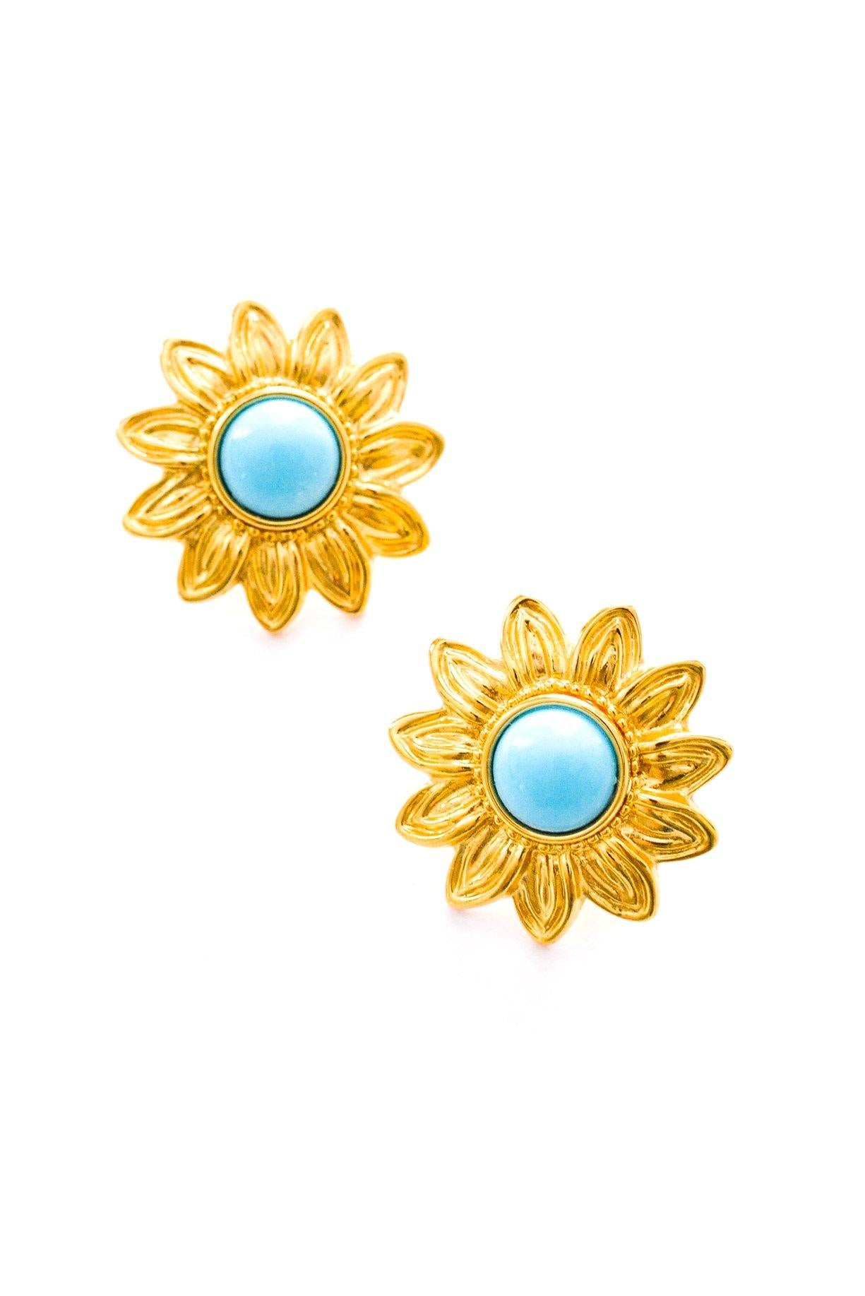 Turquoise Floral Pierced Earrings