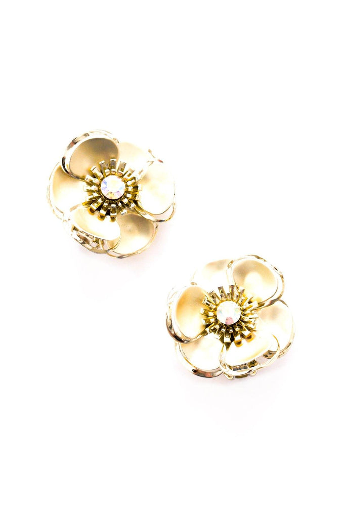 Floral Rhinestone Clip-on Earrings