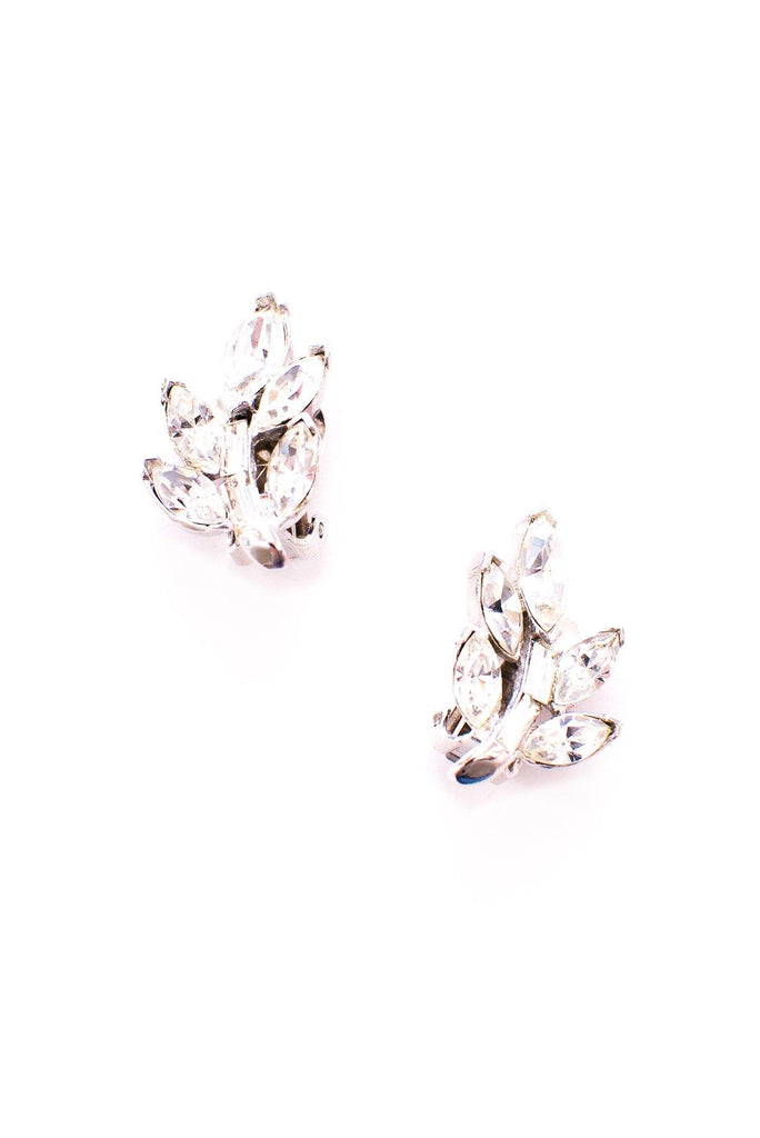 Rhinestone Leaf Clip-on Earrings