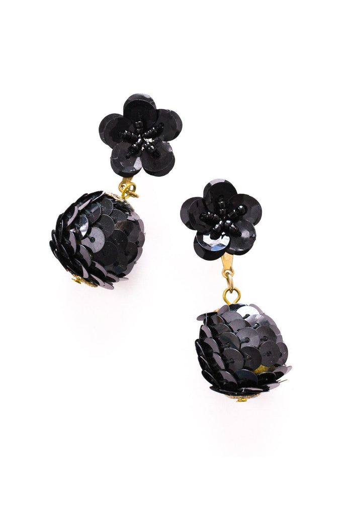 Black Sequin Pierced Earrings
