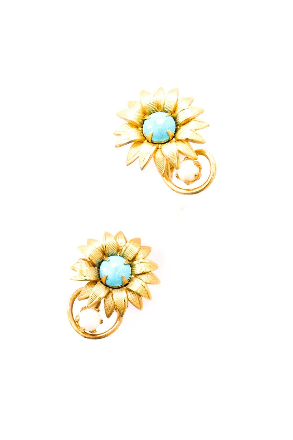 Turquoise Floral Clip-on Earrings