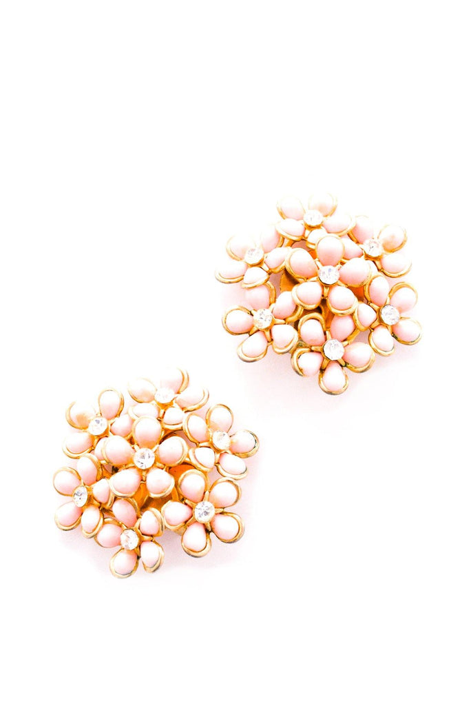 Pink Floral Statement Clip-on Earrings