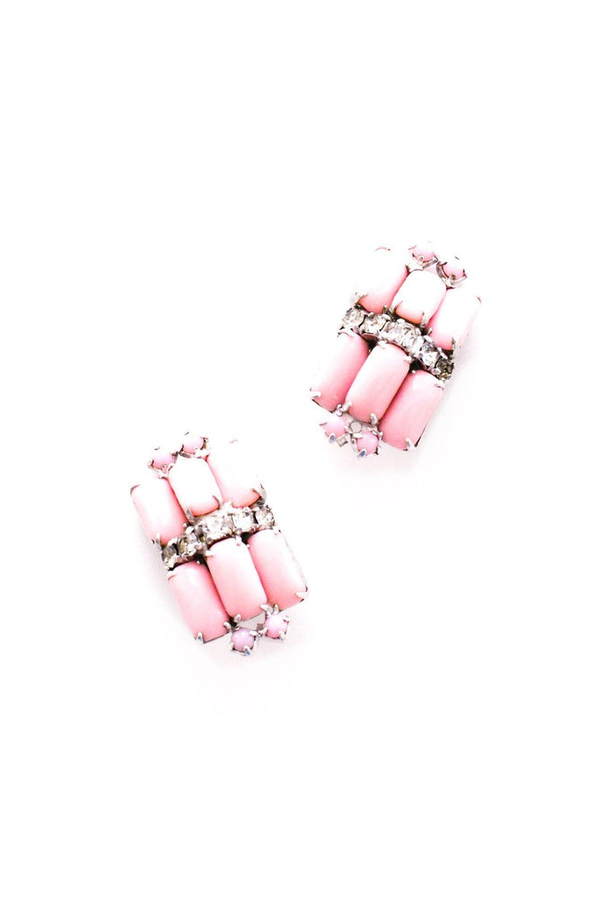 Pink Milk Glass Clip-on Earrings