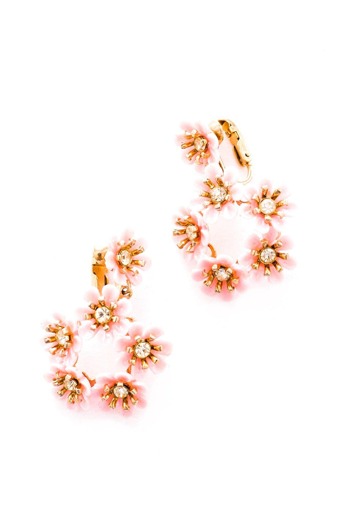 Pink Floral Drop Clip-on Earrings