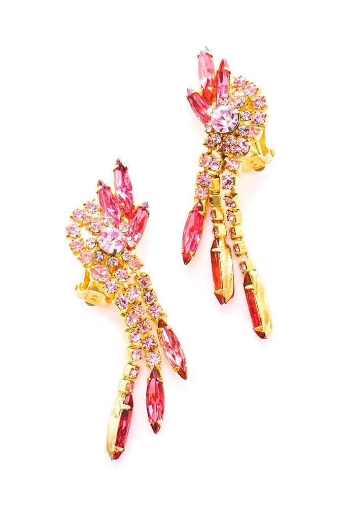 Pink & Lavender Rhinestone Clip-on Earrings
