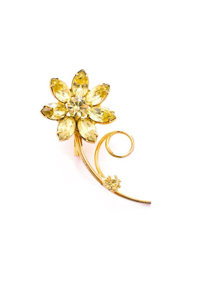 Mini Green Floral Stem Brooch