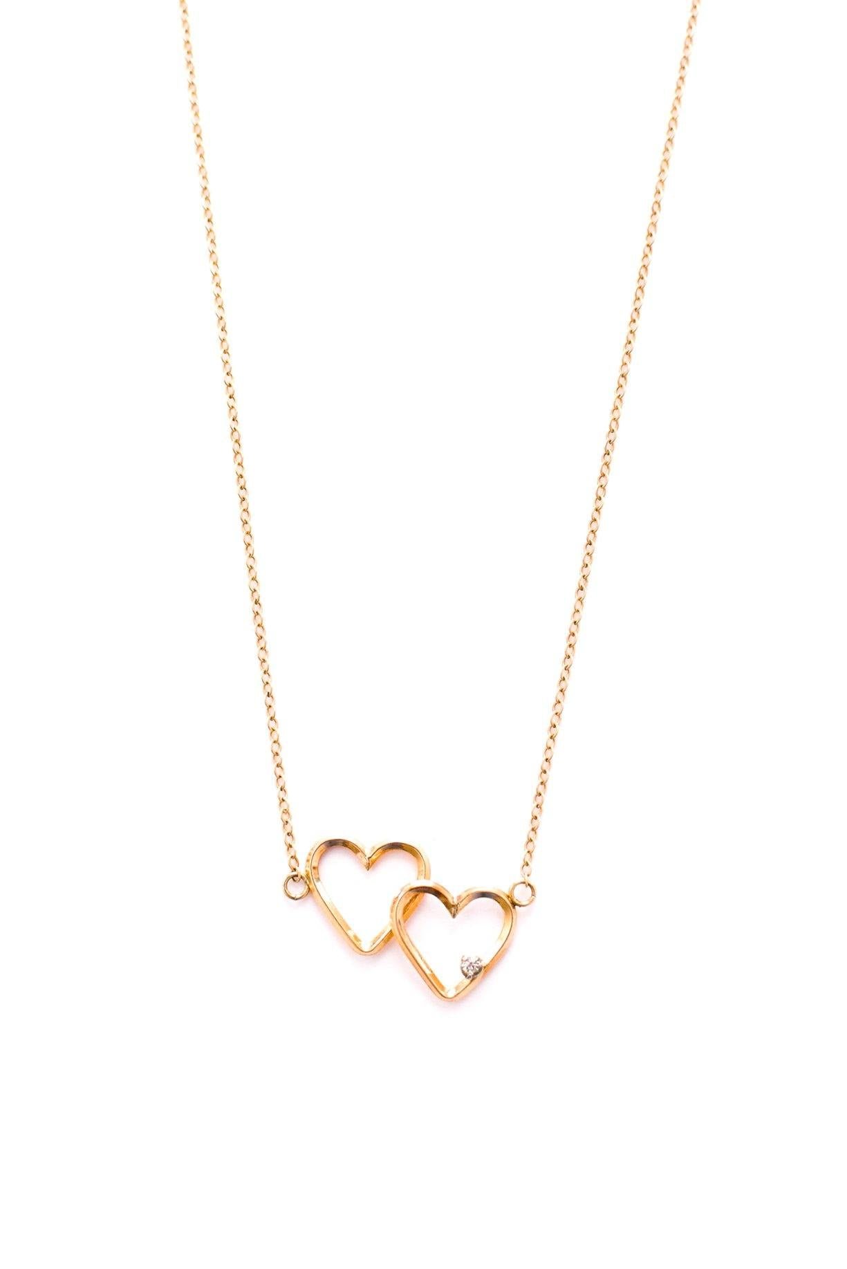 Vintage Krementz double heart necklace from Sweet & Spark.