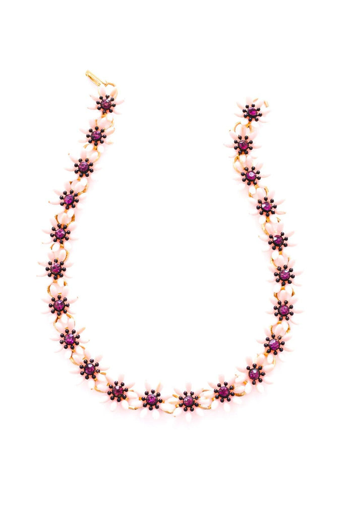 Pink Floral Statement Necklace