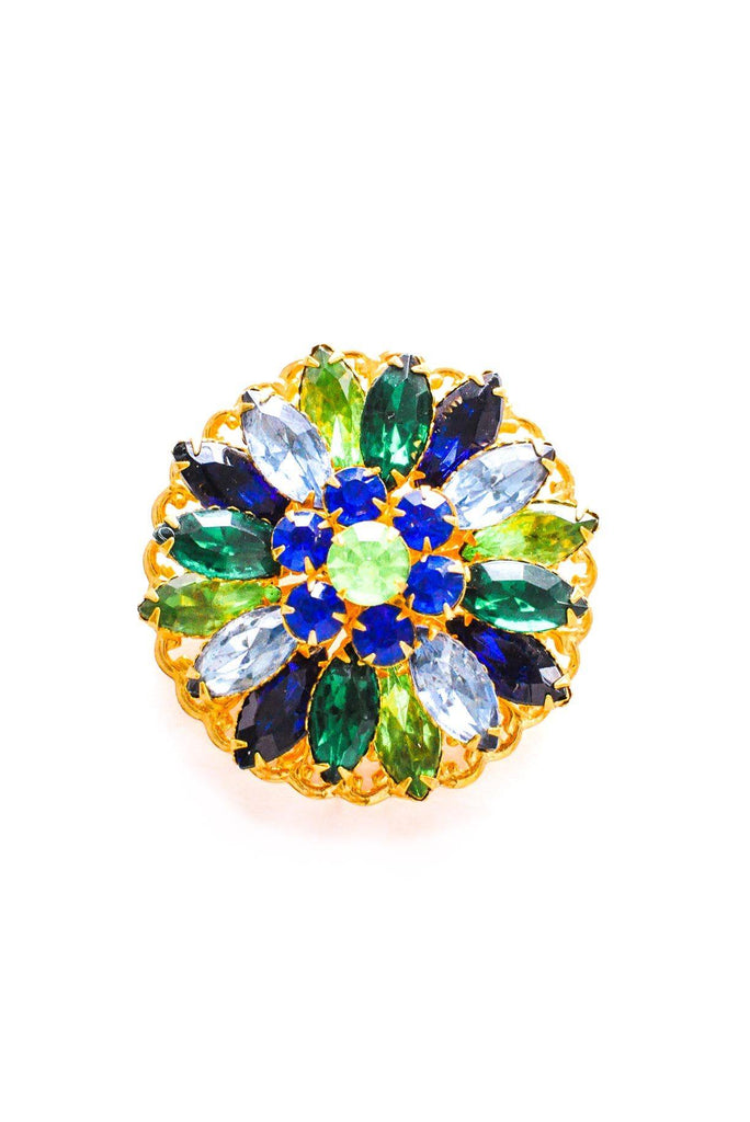 Blue & Green Floral Brooch