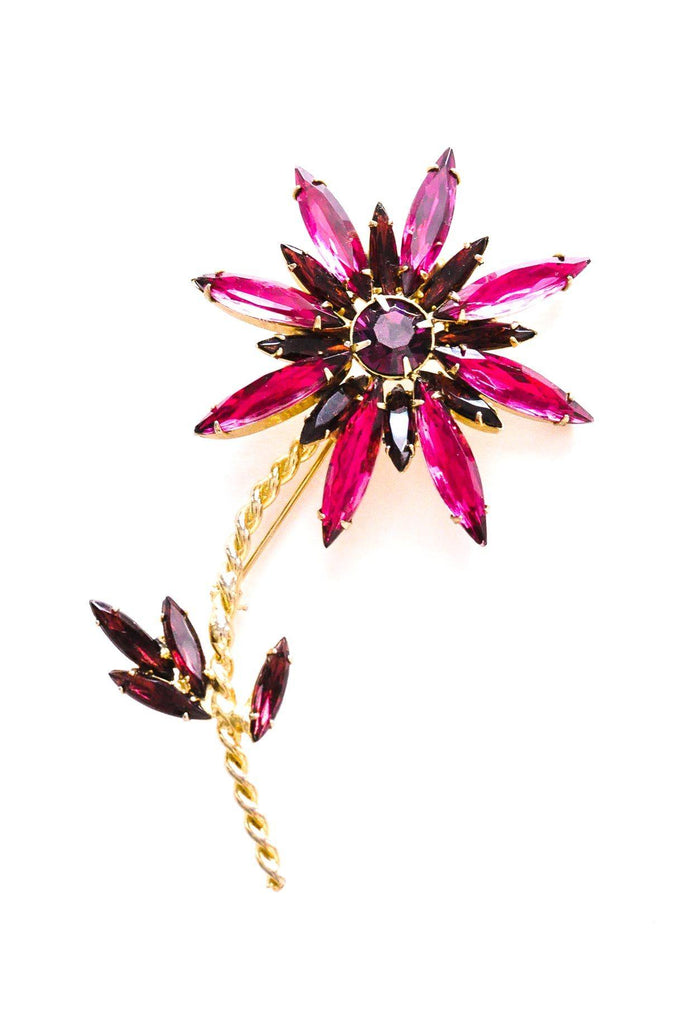 Statement Rhinestone Stem Brooch