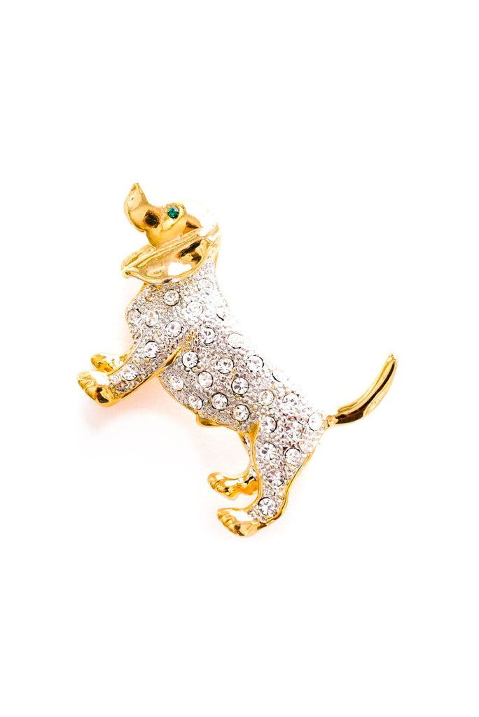 Rhinestone Dog Brooch