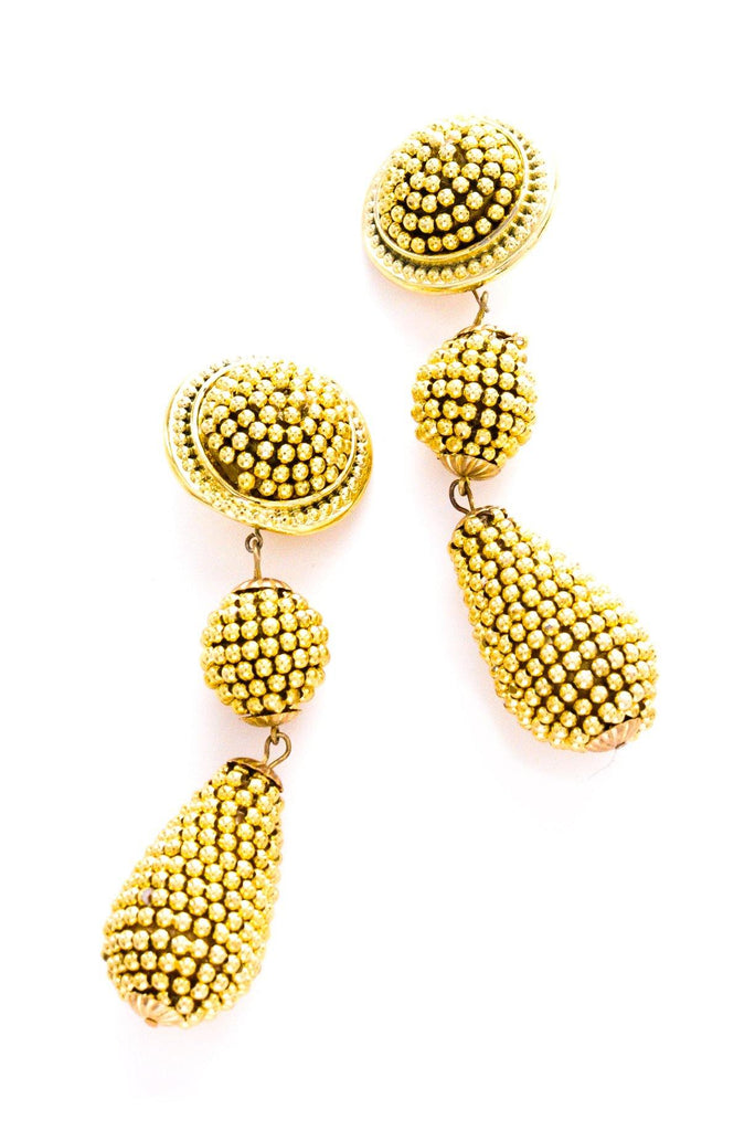 Statement Beaded Clip-on Earrings