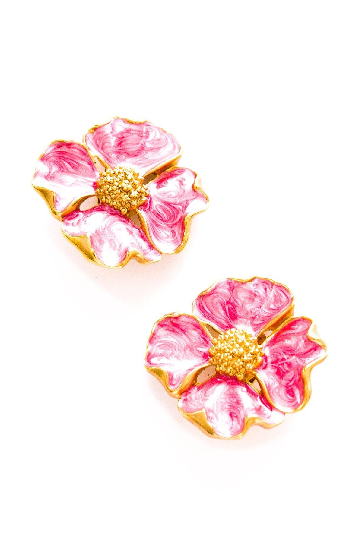 Vintage pink floral statement earrings from Sweet & Spark.