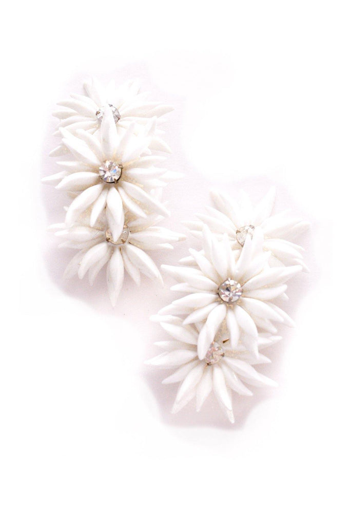 White Floral Crawler Clip-on Earrings