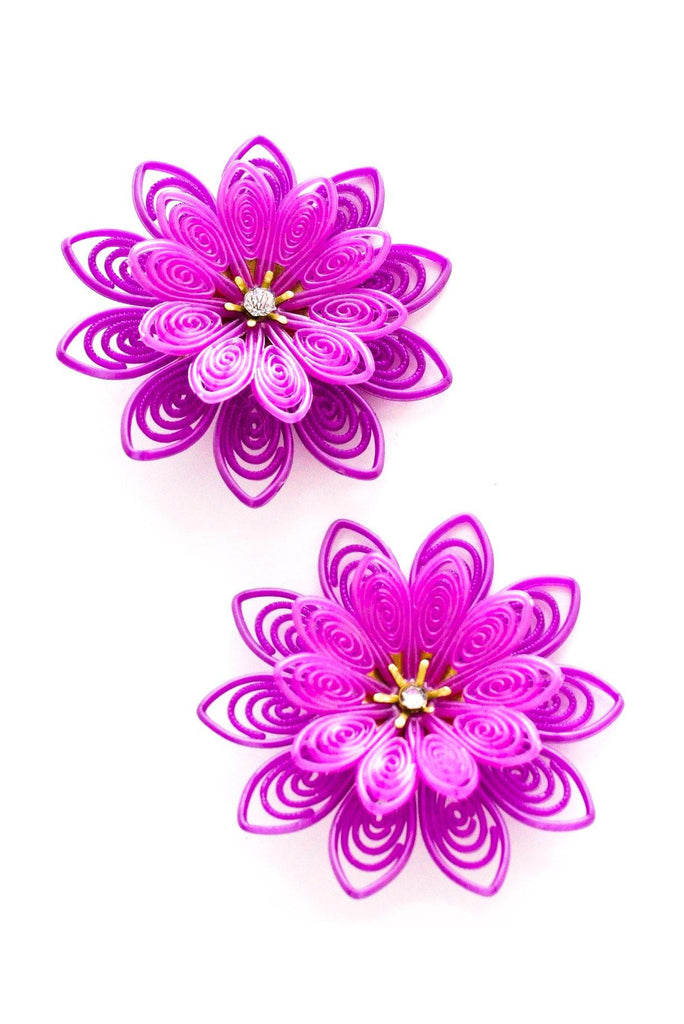 Oversized Purple Floral Clip-on Earrings