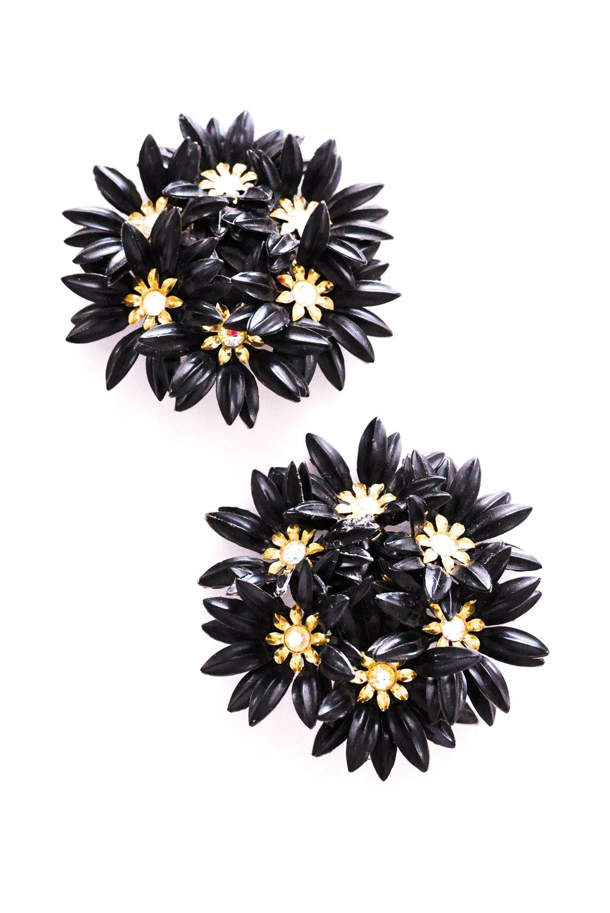 Statement Black Floral Clip-on Earrings