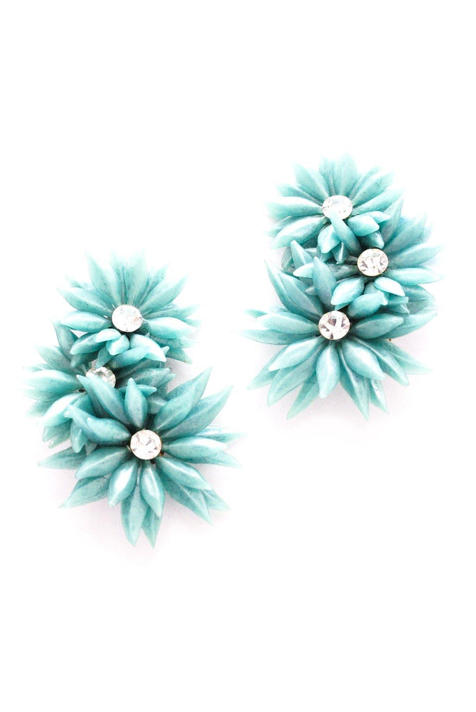 Green Floral Crawler Clip-on Earrings