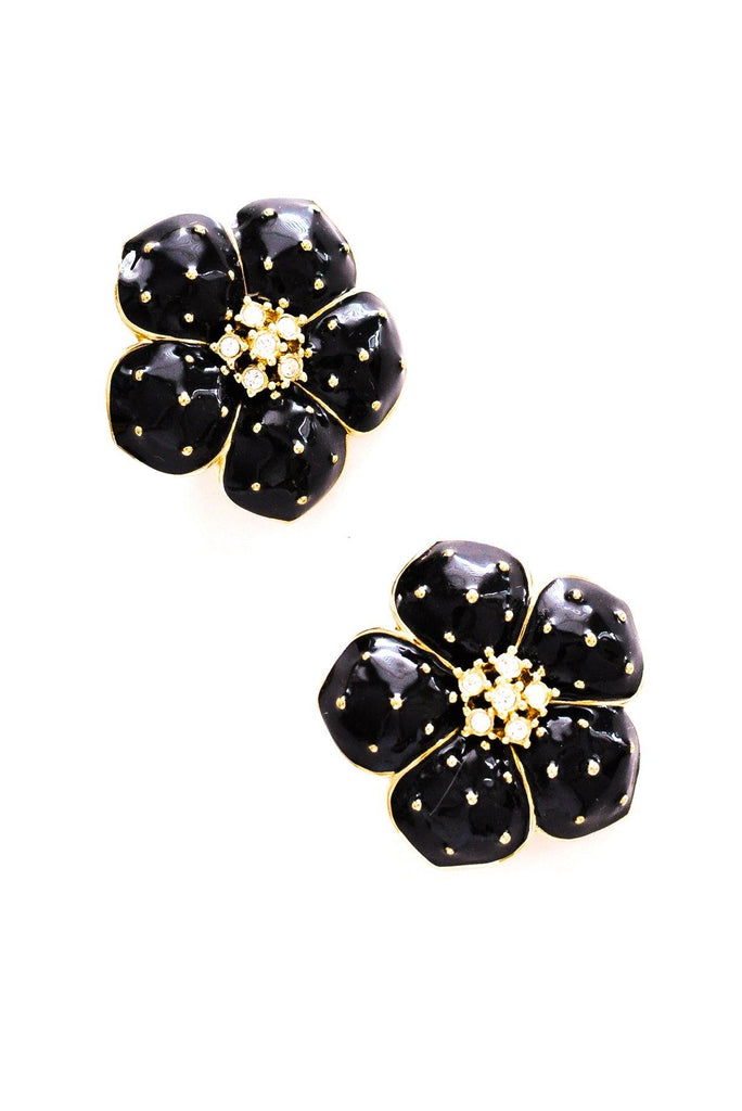 Black Floral Statement Clip-on Earrings