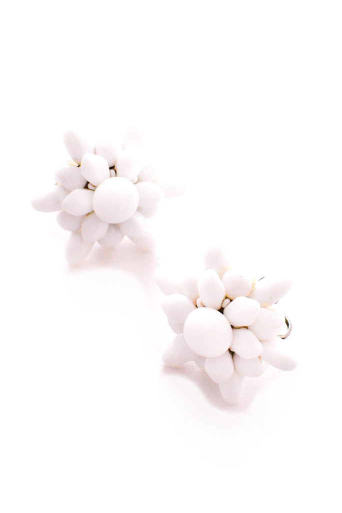 Milk Glass Floral Clip-on Earrings