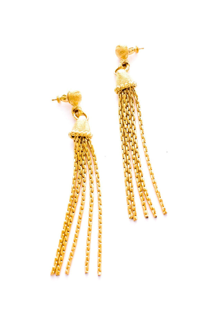 Slim Tassel Pierced Earrings