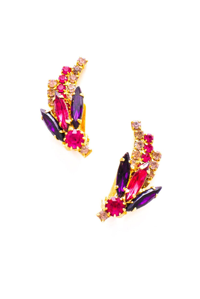 Purple & Pink Rhinestone Clip-on Earrings