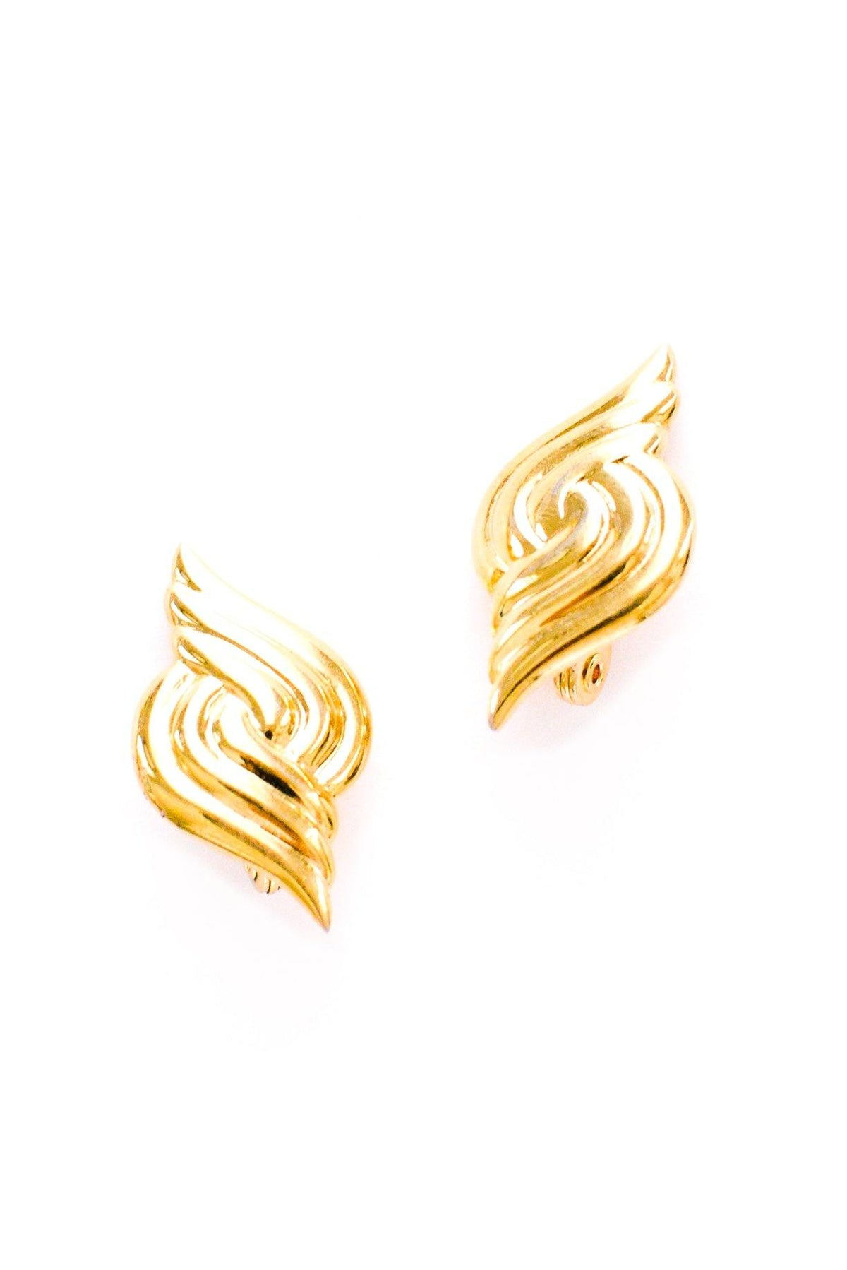 Vintage Monet gold statement swirl earrings from Sweet & Spark.
