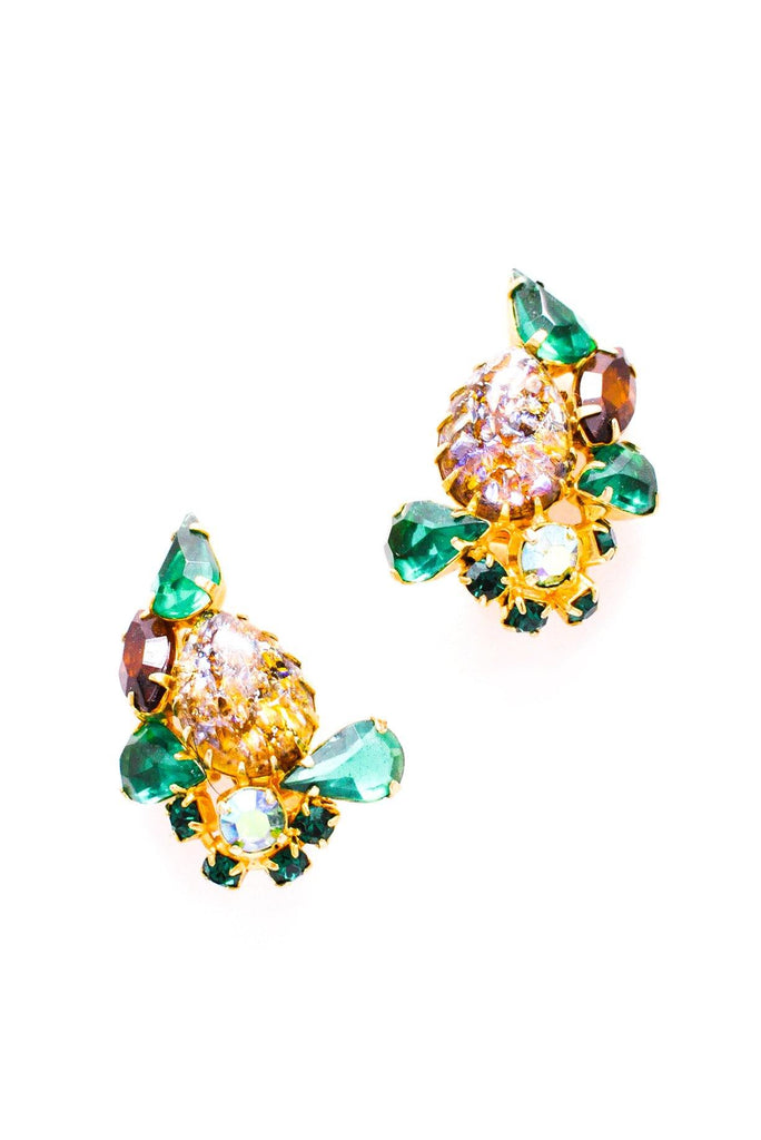 Chunky Rhinestone Crawler Clip-on Earrings