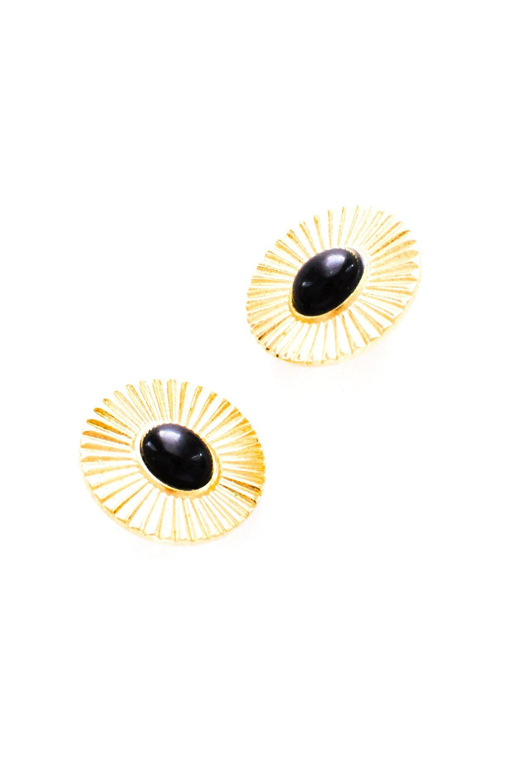 Black Stone Disc Clip-on Earrings