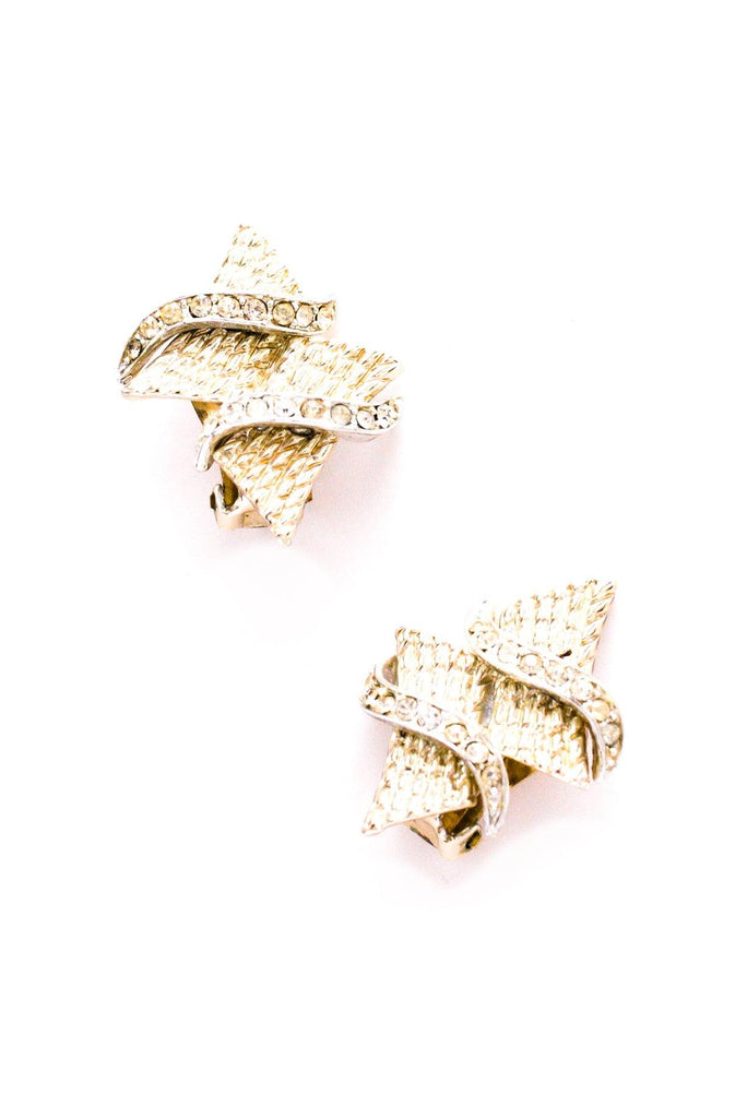 Rhinestone Square Clip-on Earrings