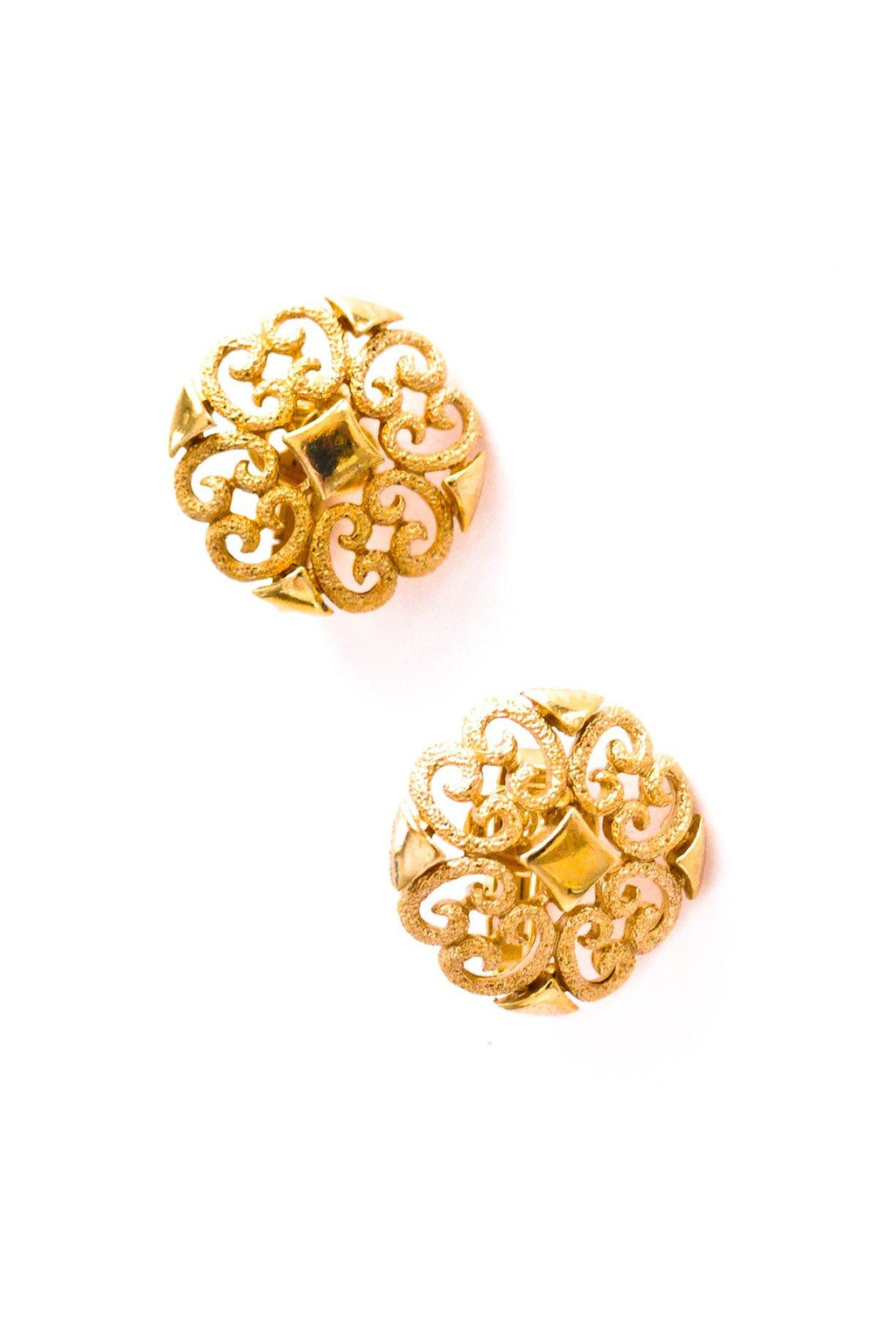 Round Filagree Clip-on Earrings