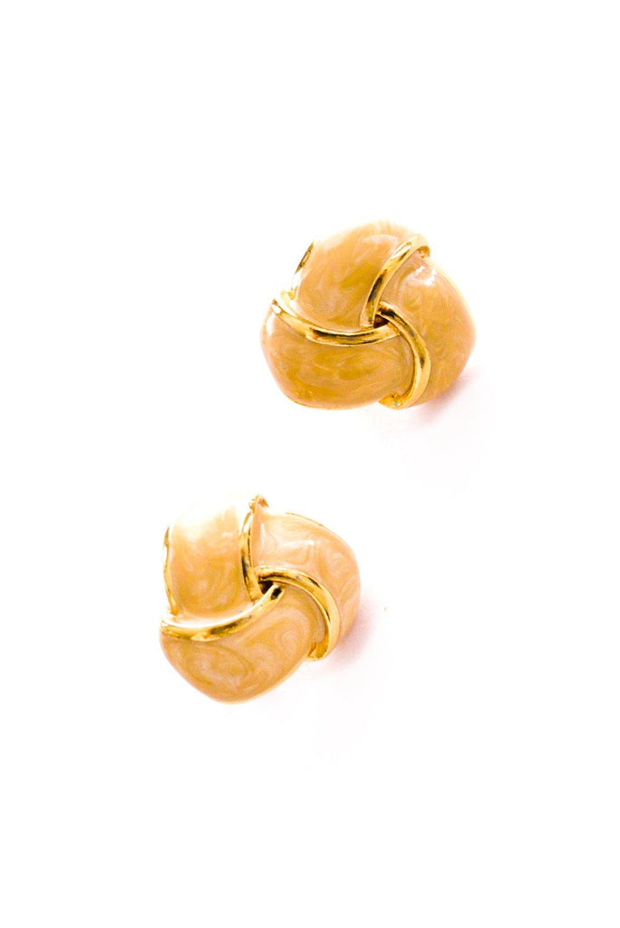 Cream Knot Clip-on Earrings