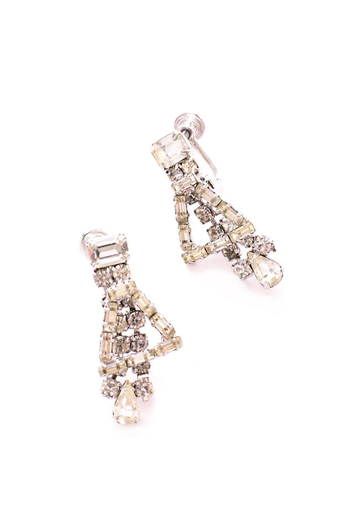 Rhinestone Triangle Clip-on Earrings