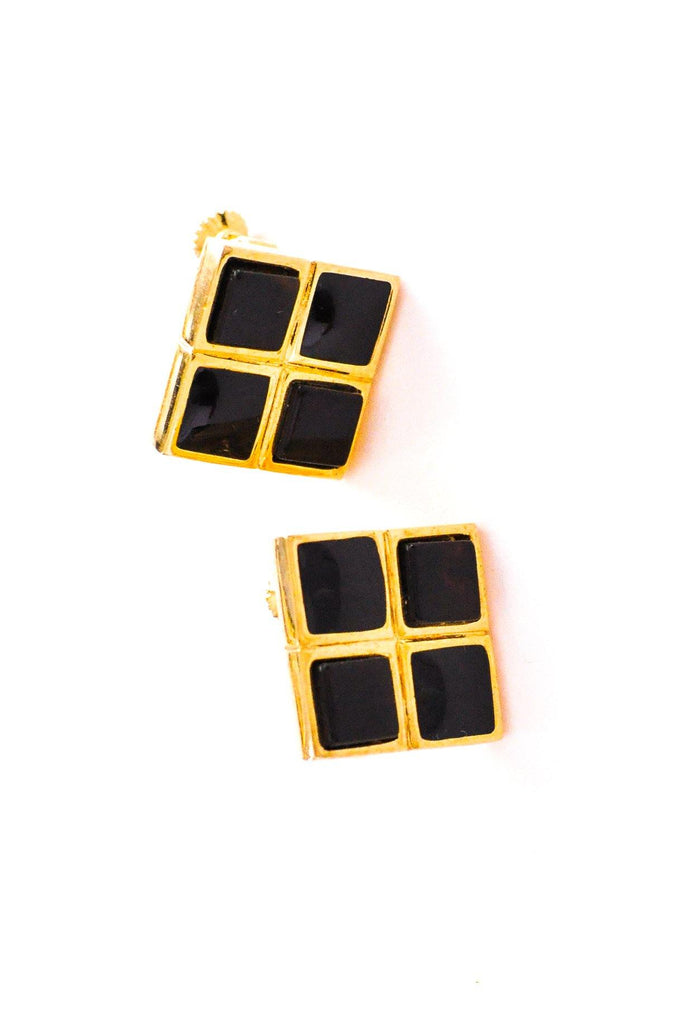 Black Squares Clip-on Earrings