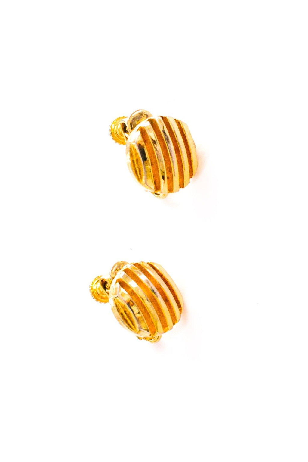 Stripe Circle Clip-on Earrings