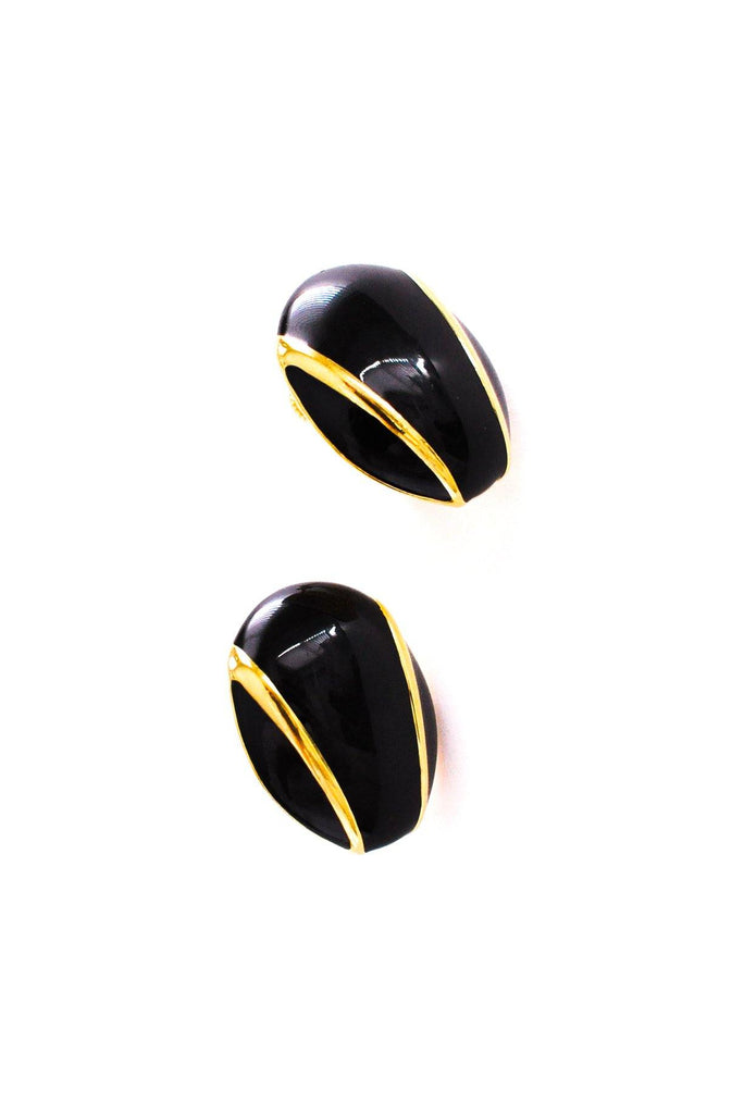 Black Enamel Clip-on Earrings
