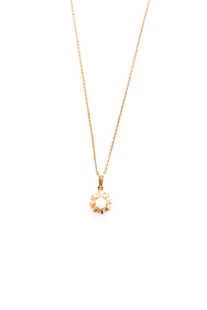 Dainty Pearl Sunburst Necklace