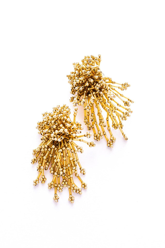 Gold Confetti Statement Clip-on Earrings