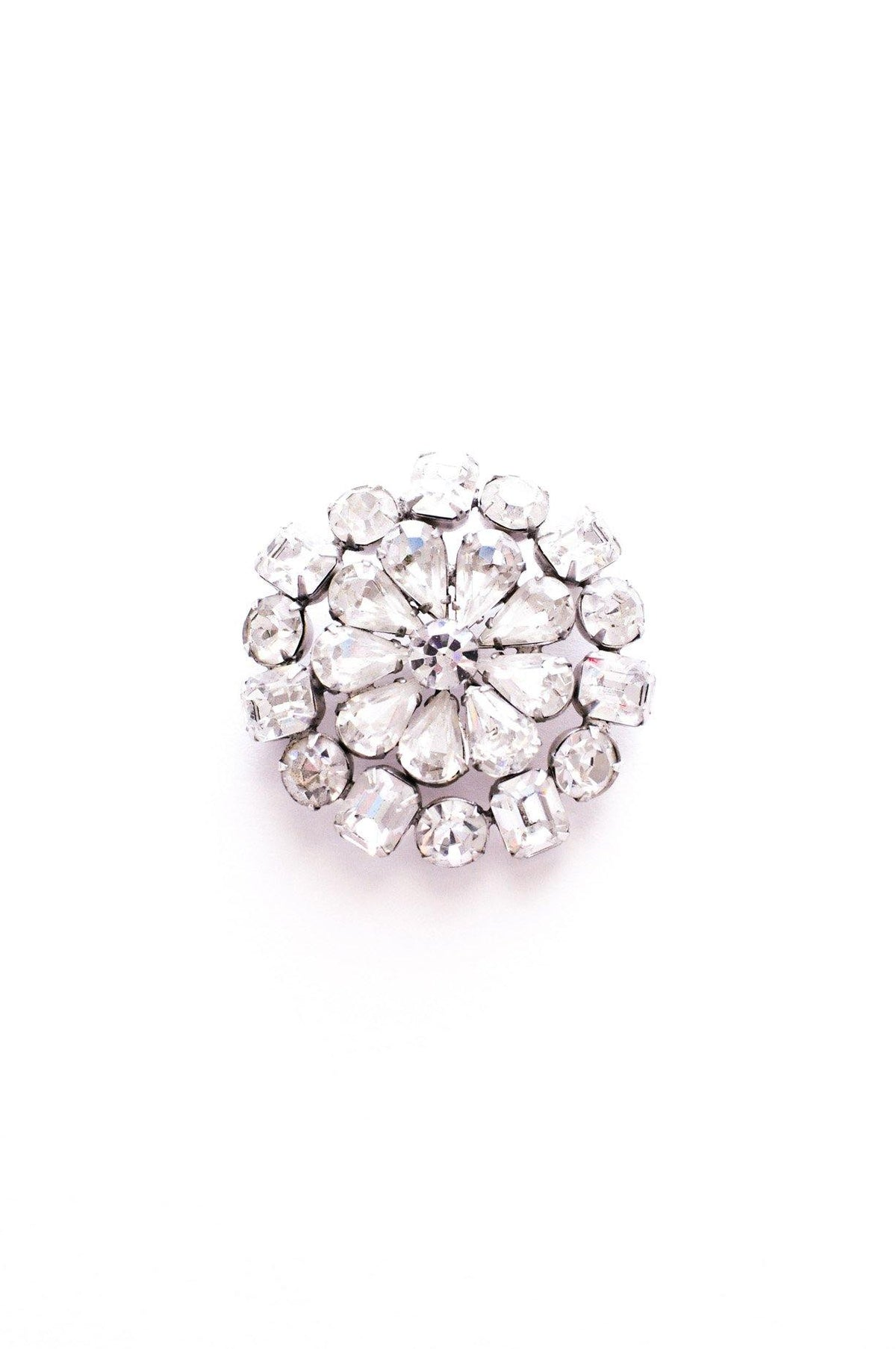 Vintage clear rhinestone floral brooch from Sweet & Spark.