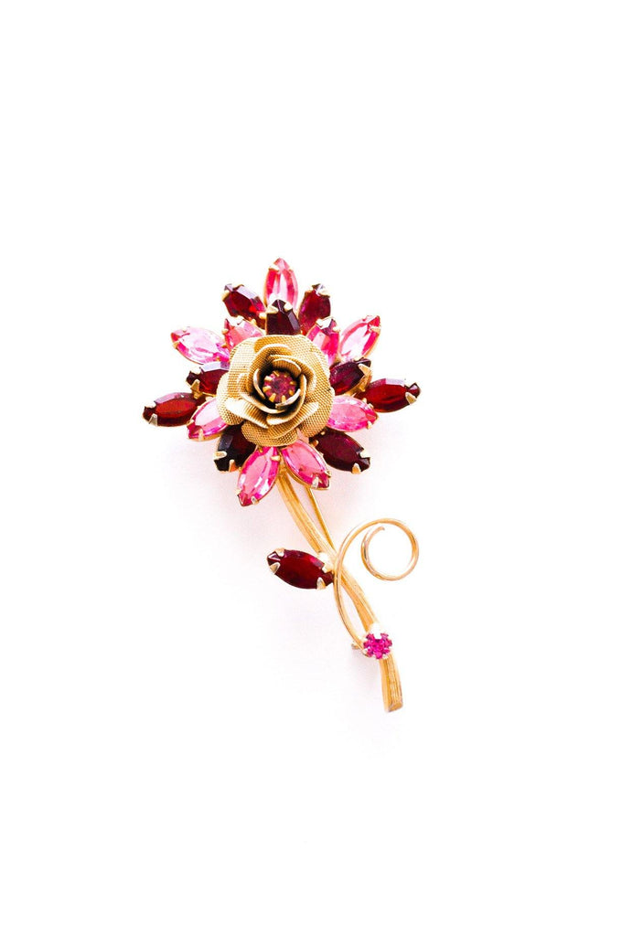 Rose Floral Stem Brooch