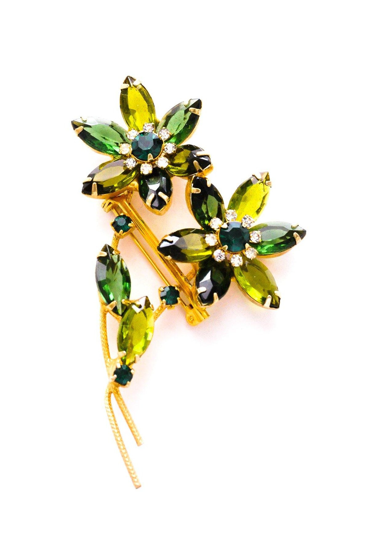 Green rhinestone stem brooch from Sweet & Spark.