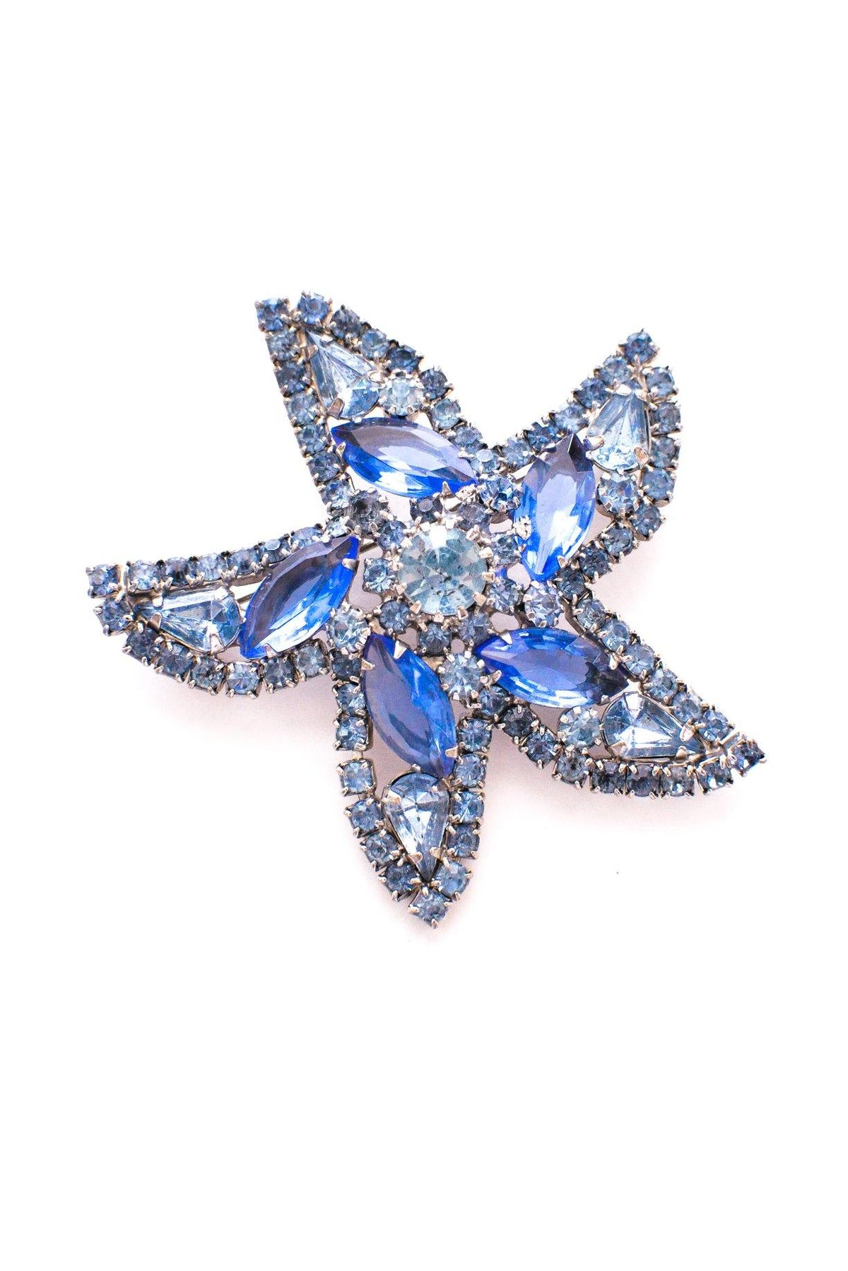 Vintage Weiss Blue Rhinestone Starfish Brooch from Sweet & Spark.