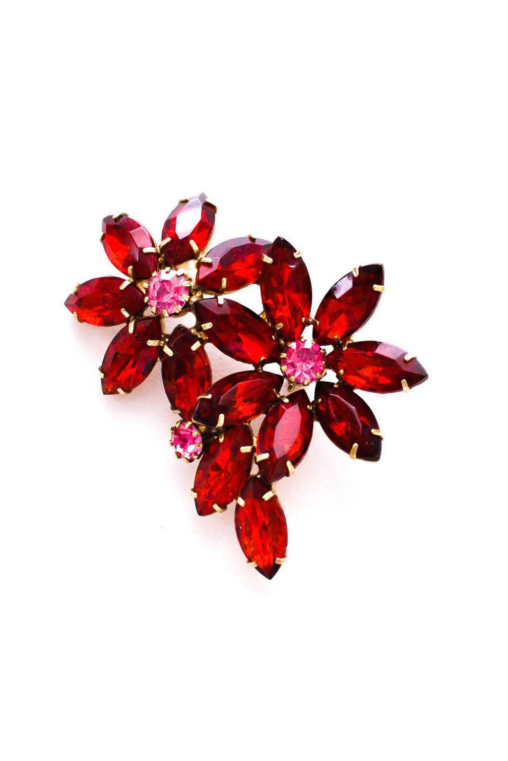 Red Rhinestone Brooch