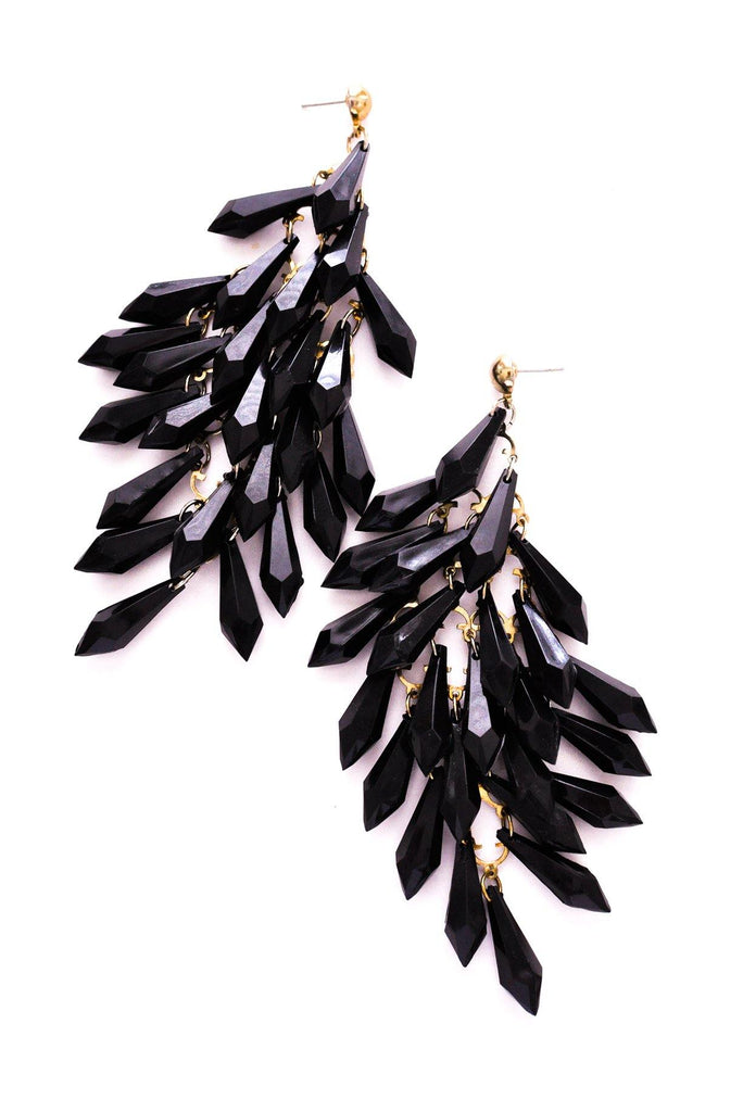 Black Waterfall Pierced Earrings
