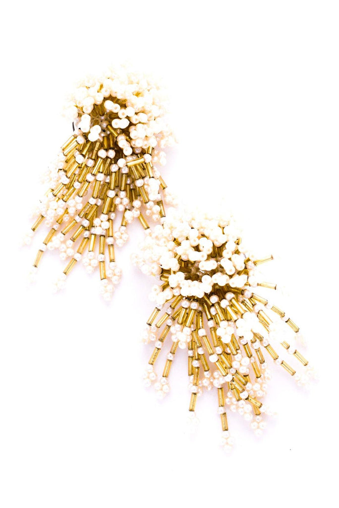 Gold & Pearl Confetti Clip-on Earrings