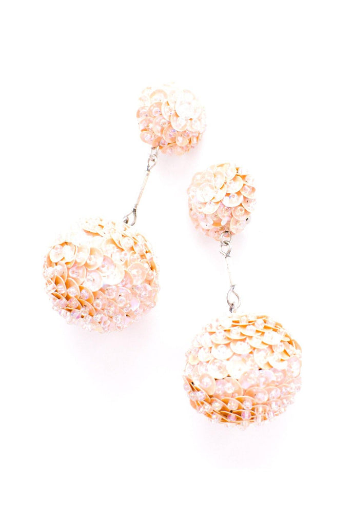 Blush Sequin Bon Bon Clip-on Earrings
