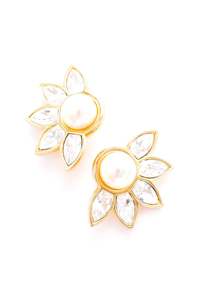 Pearl Rhinestone Crawler Clip-on Earrings