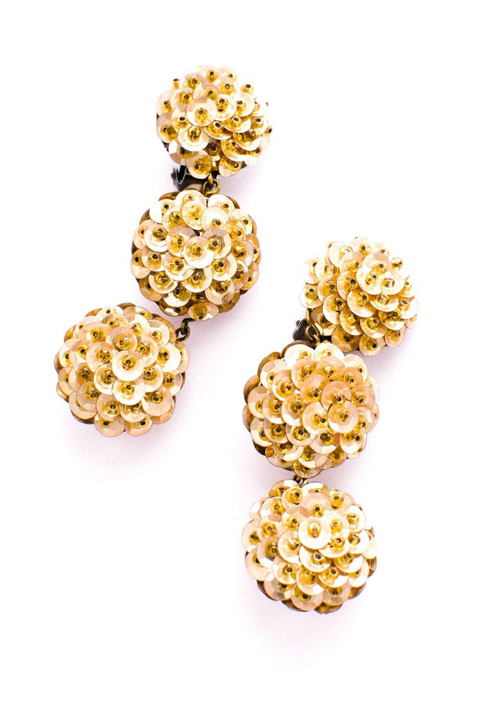 Gold Sequin Bon Bon Clip-on Earrings