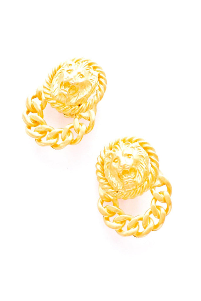 Lion Head Hoop Clip-on Earrings