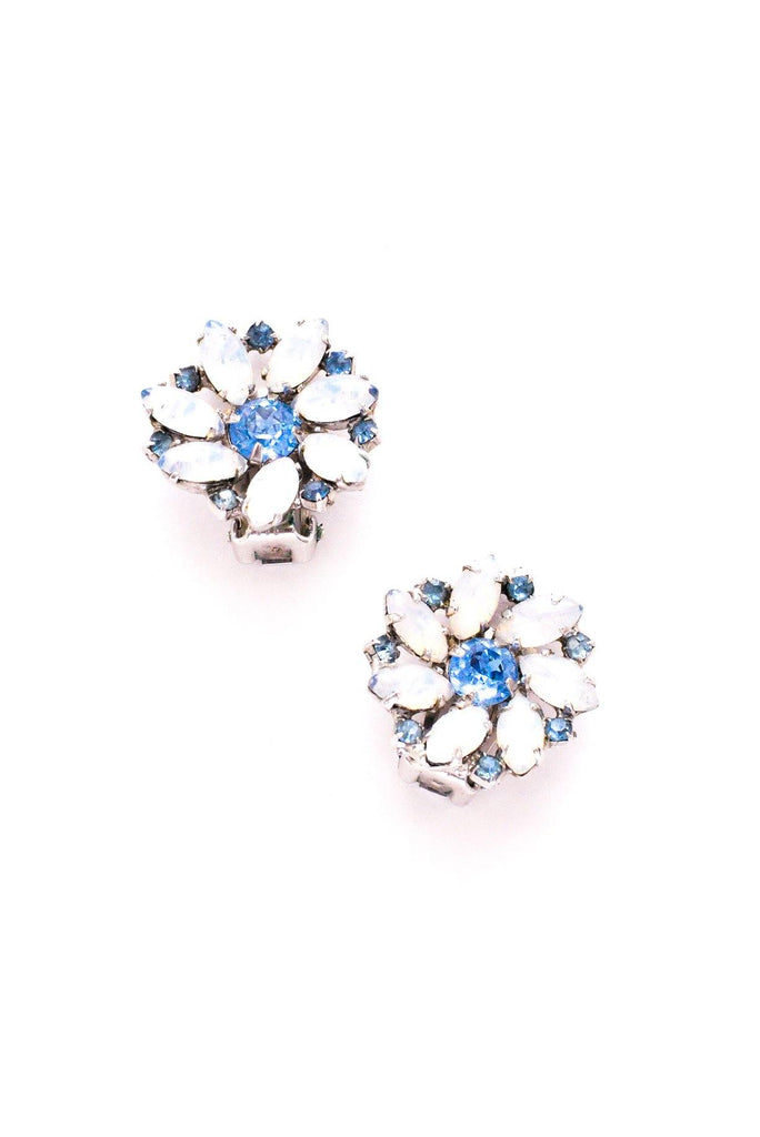 Blue Rhinestone Floral Clip-on Earrings